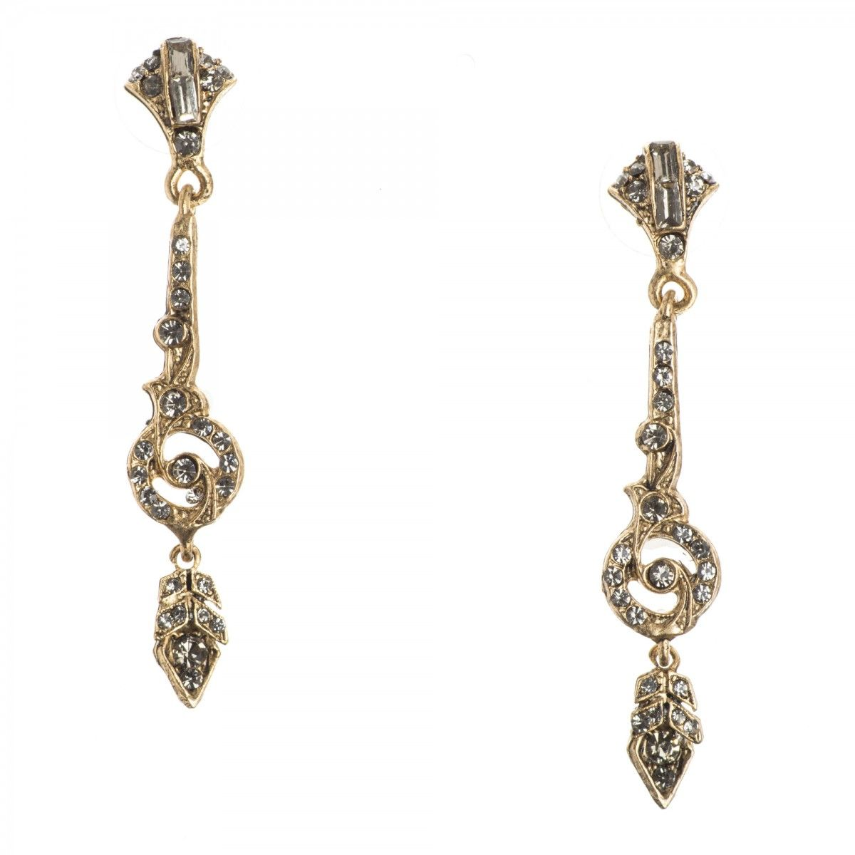 Miss Ellie Nyc Earrings Gold Deco Delight Long Slim Crystal Posts