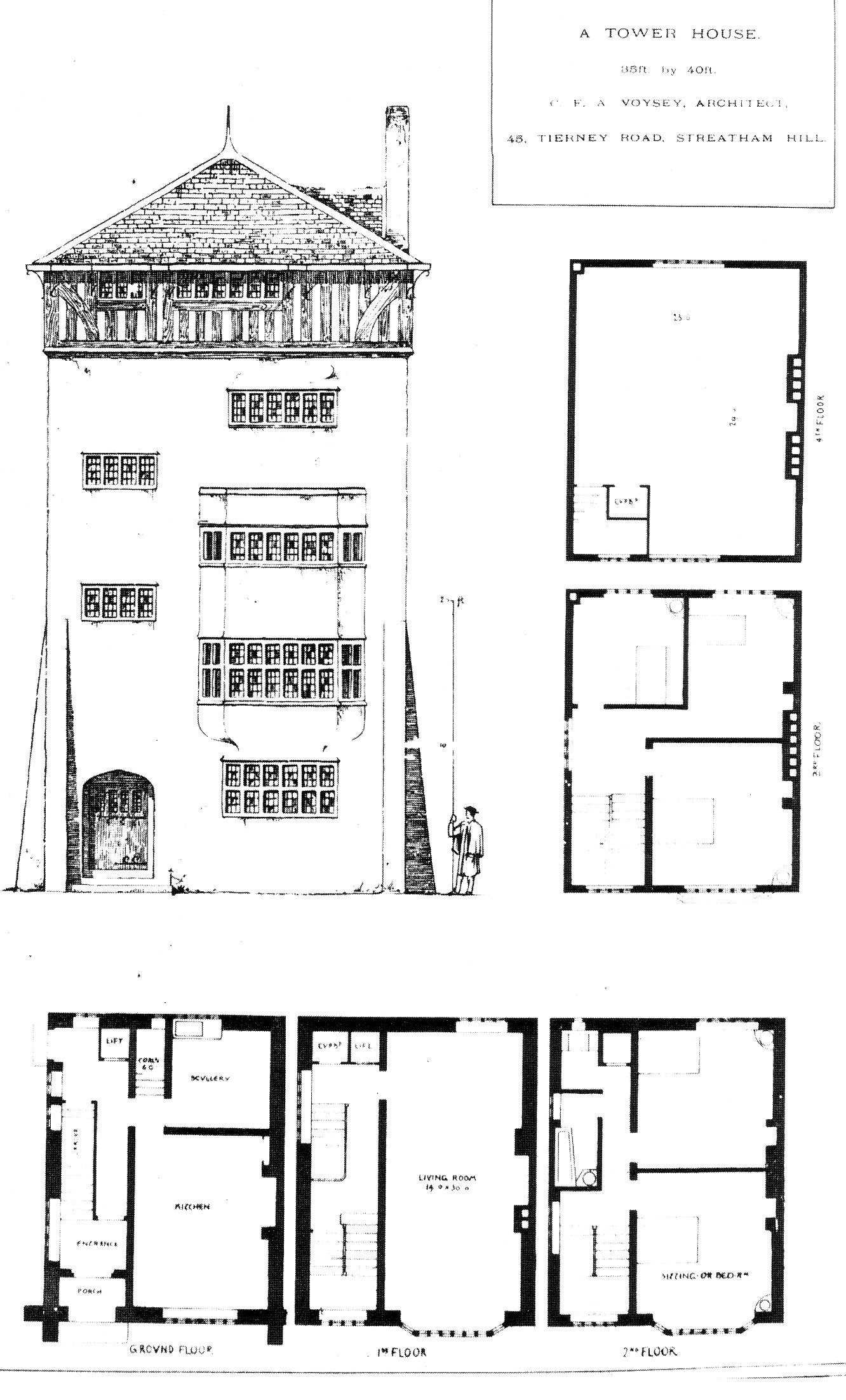 1889 Design For A Tower House Streatham Hill Tower House Vintage House Plans House Plans