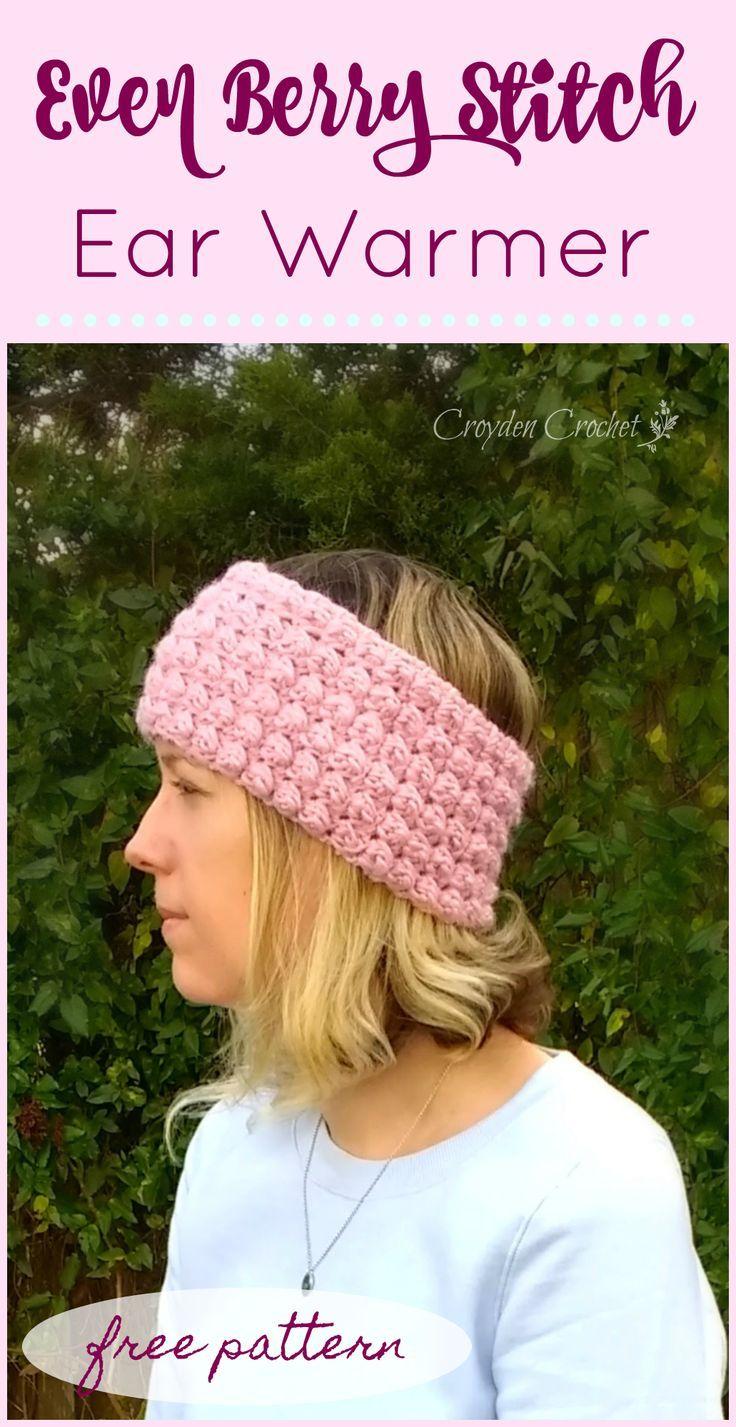 Crochet Berry Stitch Ear Warmer - A free pattern by | Pinterest | Gorros