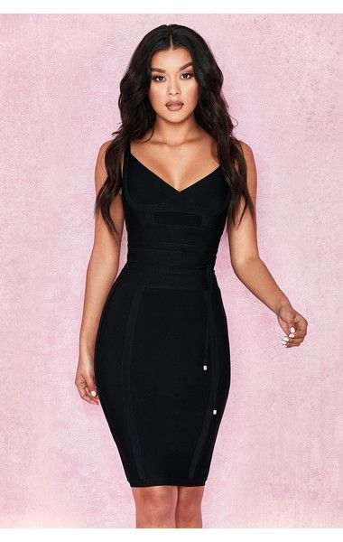 45ae0ab4158f9 Clothing : Bandage Dresses : 'Belice' Black Tie Waist Bandage Dress | HOUSE  CB LONDON en 2019 | Bodycon dress, Dresses y Fashion dresses