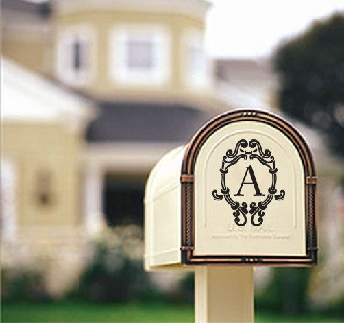 House Number Initial Monogram Mailbox Door Vinyl Decal Sticker & House Number Initial Monogram Mailbox Door Vinyl Decal Sticker ...