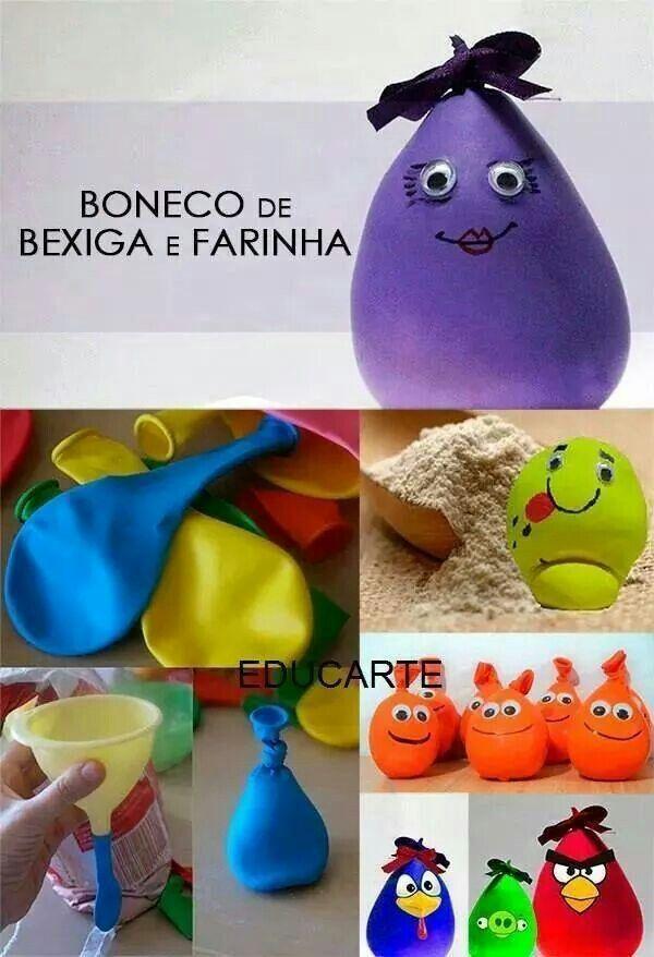 Bonecos De Bexiga E Farinha De Trigo Kids Crafts Bebe Diy