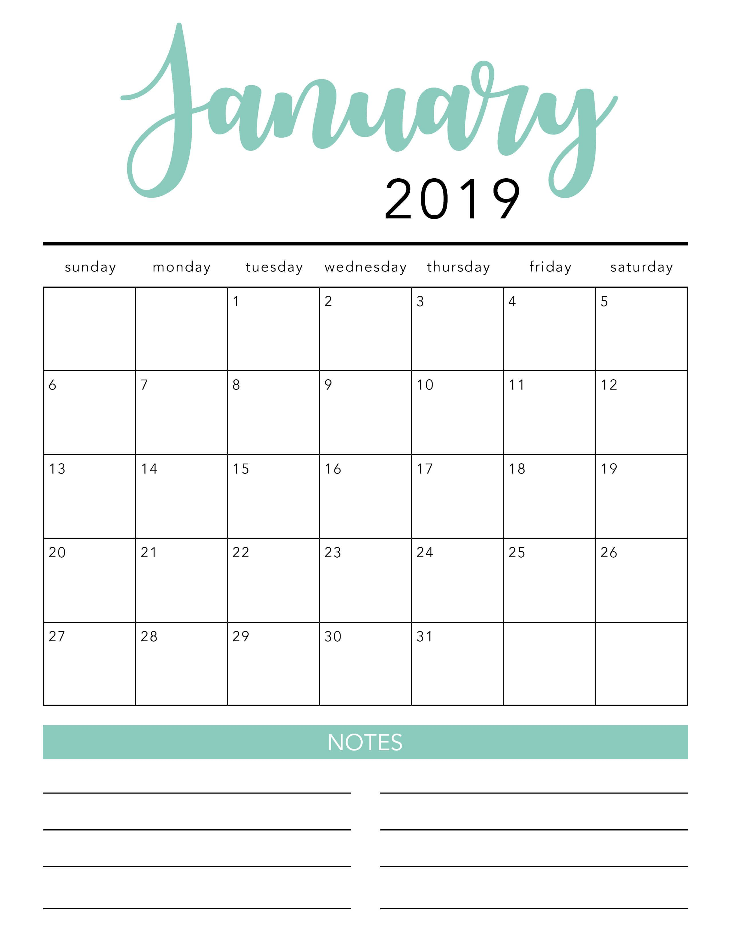 Free Calendar Templates 2019 FREE 2019 Printable Calendar Template (2 colors!)   I Heart
