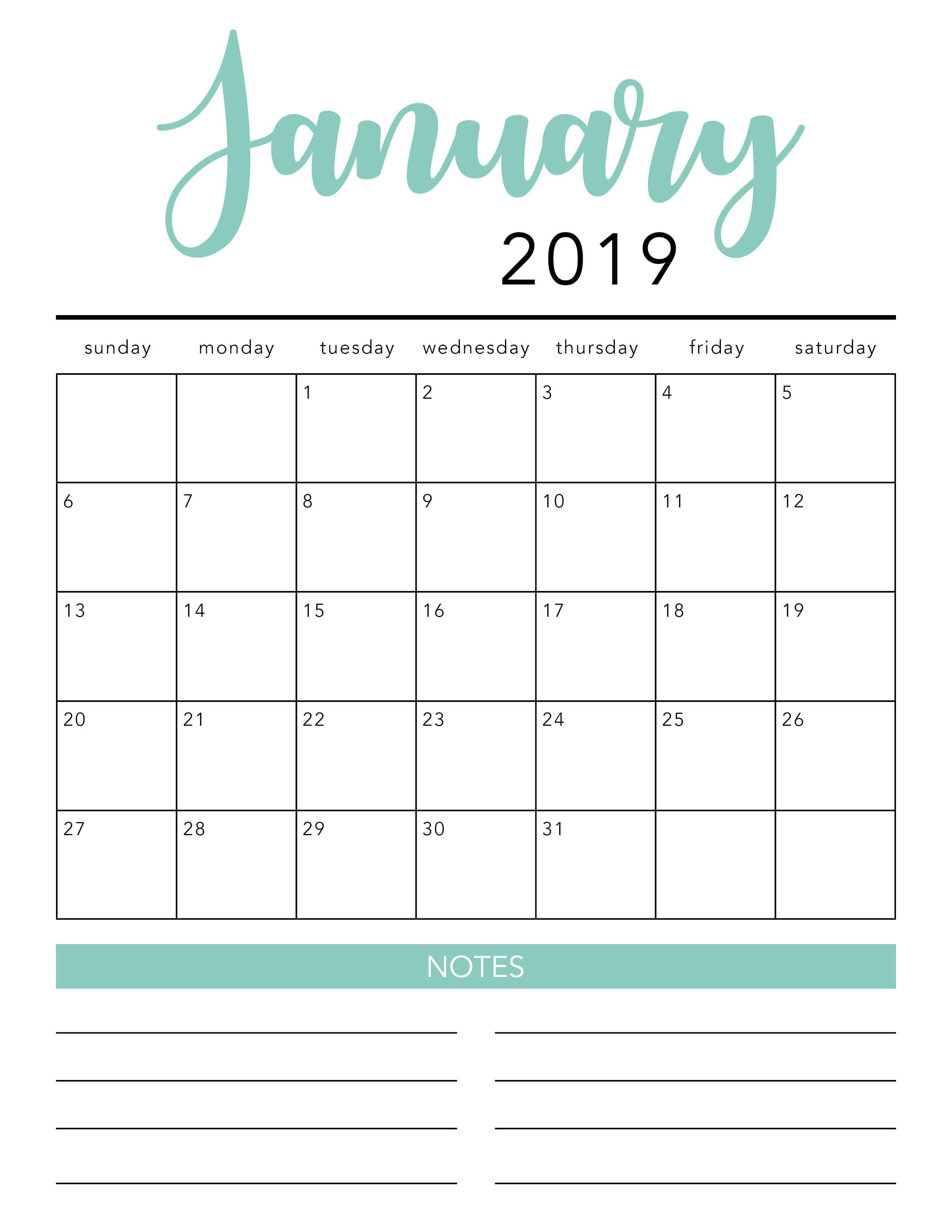 Free Printable Calendar Template 2 Colors