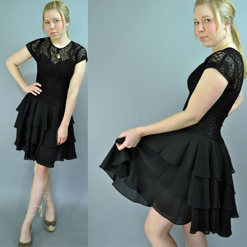 80s black party dress vintage black cocktail by rockstreetvintage ...