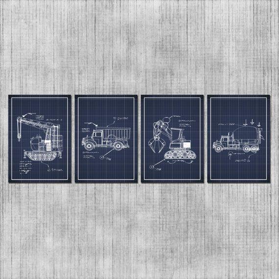 Baby Boy Nursery Bulldozers Wall Art Construction Theme Kids Room Navy Blue Blueprints Set Of 4 Prints