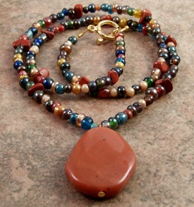 Red Jasper Gemstone Blue Green Glass Beaded Necklace Acrylic Pendant