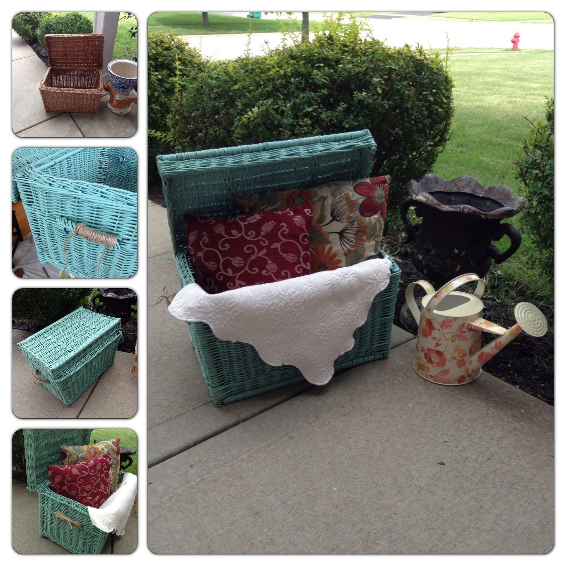 La Canasta ~ old basket, old blankets & pillows nice porch or bedroom decor.