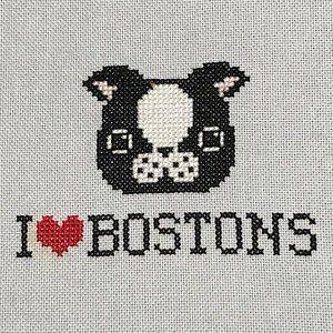 Boston Terrier Love Cross Stitch PDF Digital Download