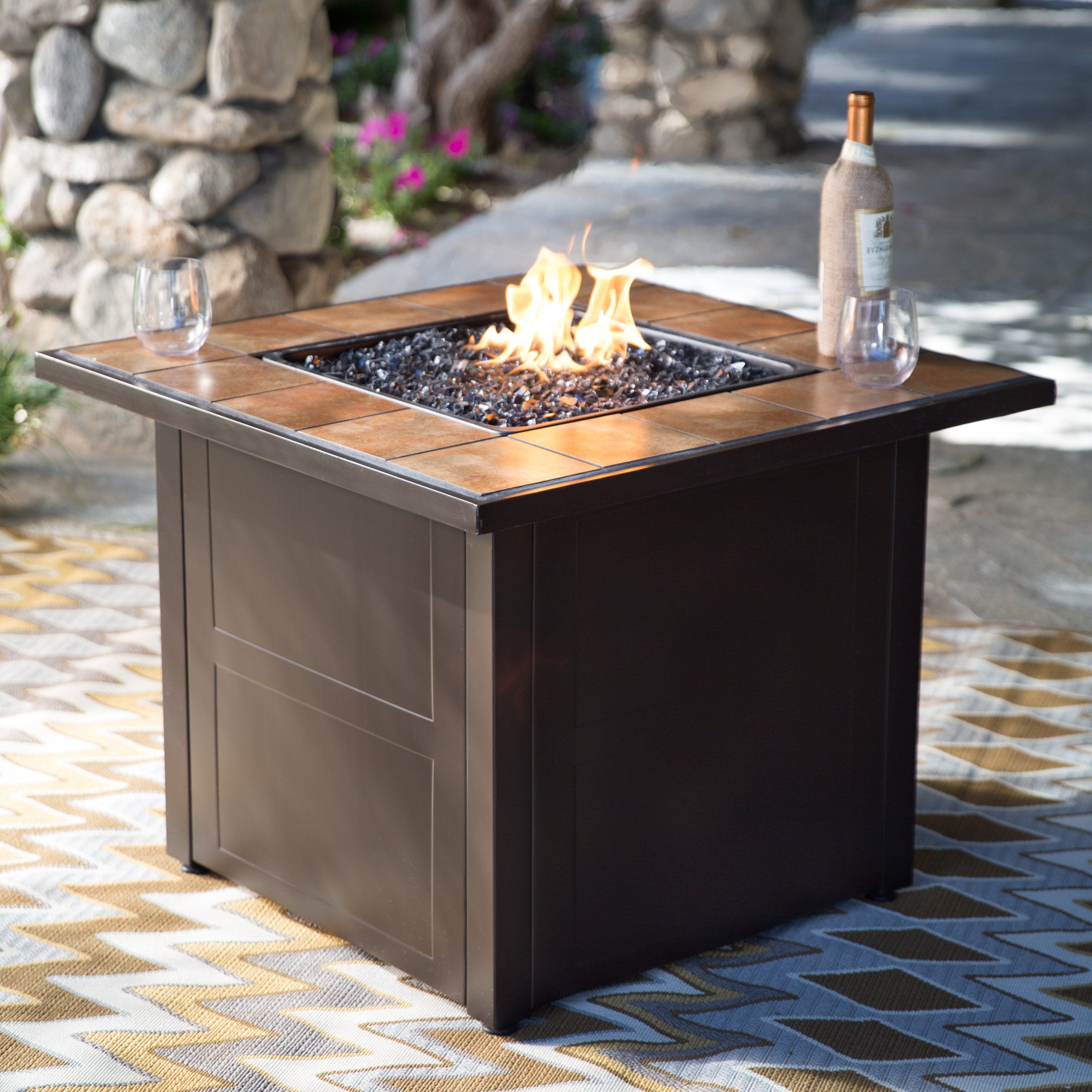 Red Ember Desert Sand 32 In Square Propane Fire Pit Table Propane Fire Pit Table Outdoor Propane Fire Pit Fire Pit Backyard
