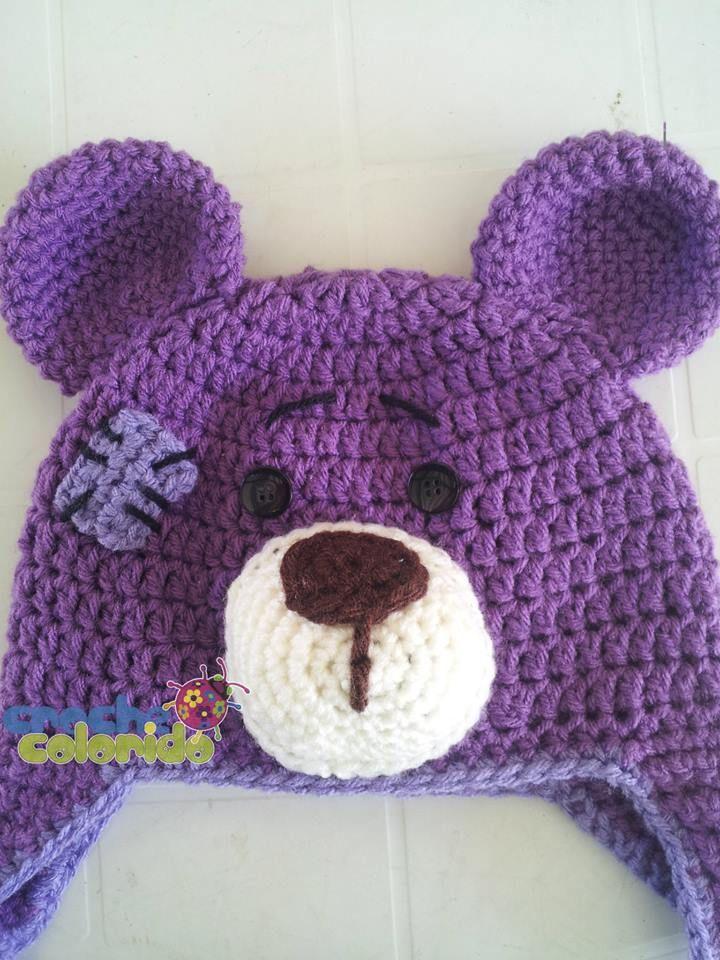 Croche Colorido  Gorro   Touca Urso  b36bcd00725