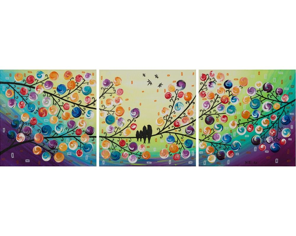 """Family Time"" by QIQIGallery 36""x12"" Original Painting"