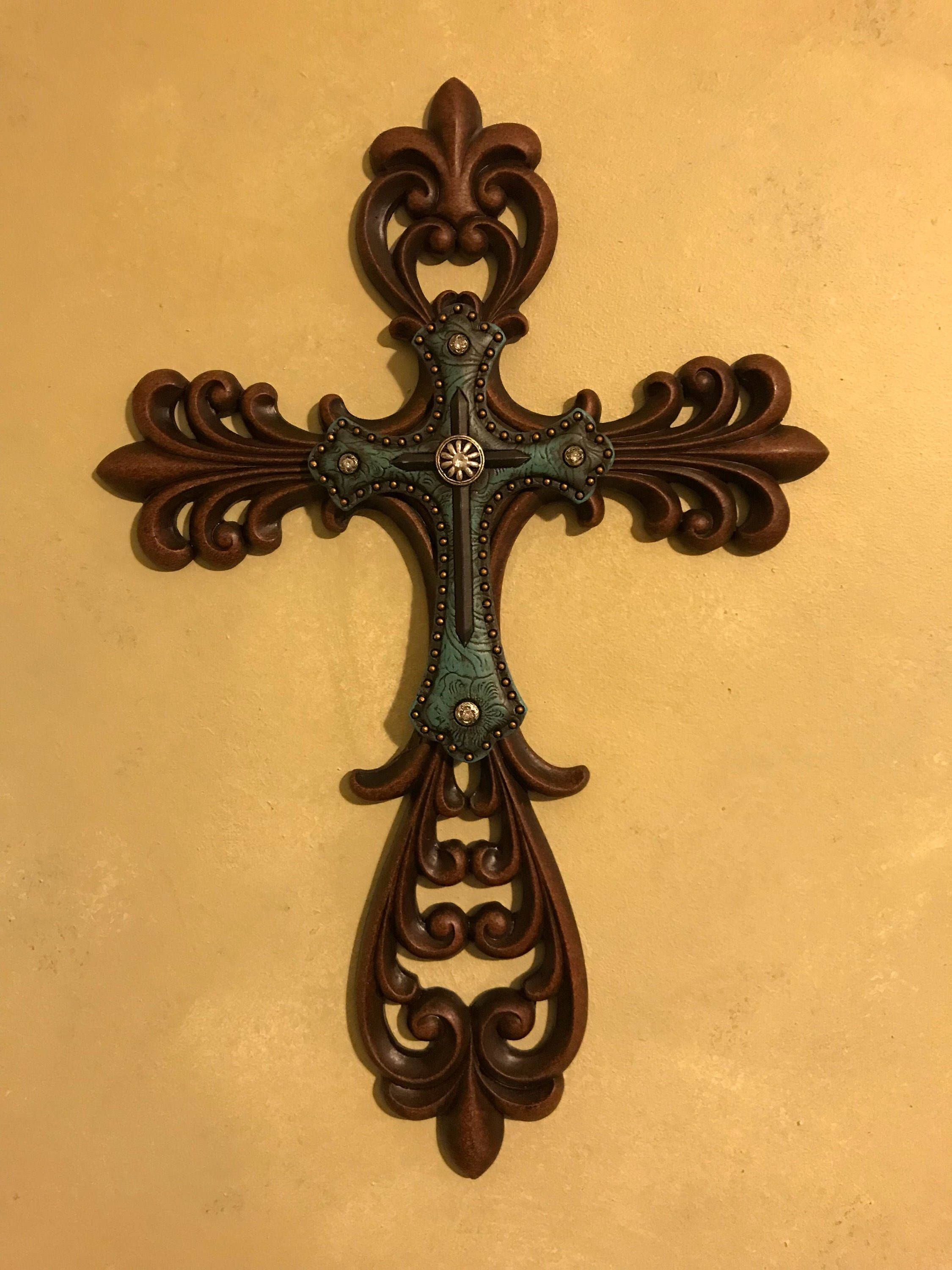 Blue Fleur De Lis scroll wall cross decor, Turquoise wall cross with ...
