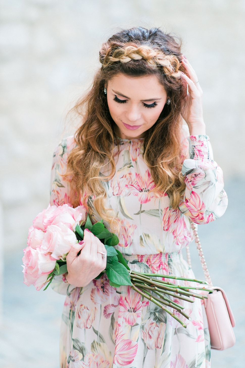 a493f68ae8343 Half crown braid hairstyle. Floral midi dress. Bouquet of roses ...