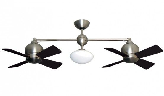 Metropolitan double ceiling fan satin steel by gulf coast fans is a modern styled dual motor fan with optional light globe integrated light assembly and