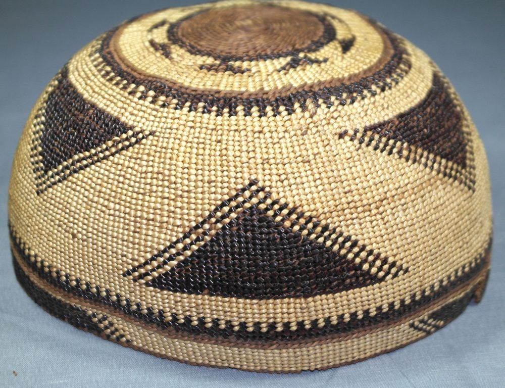 5b4cb2e445a Antique Native American Hupa Yurok Karok Basket Hat   Northwest California