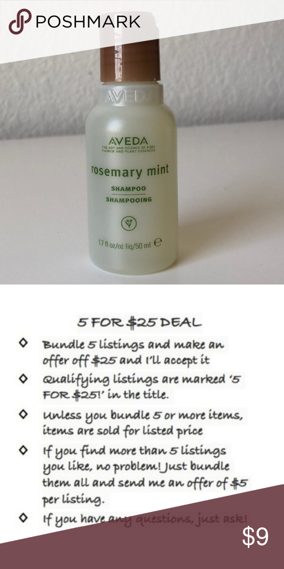 a0236c41e4aa 5 FOR $25! AVEDA Rosemary Mint Shampoo Travel This listing is part of the 5