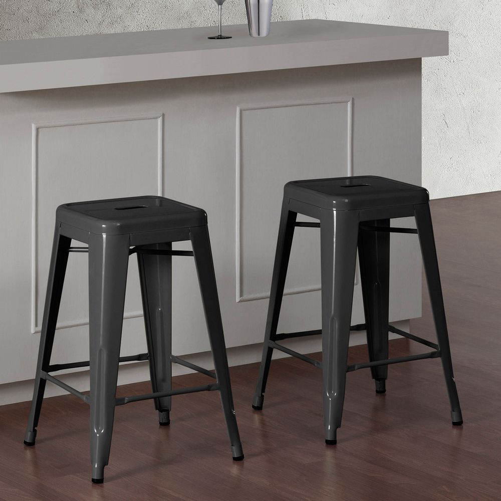 Tabouret 24 Inch Charcoal Grey Metal Counter Stools Set