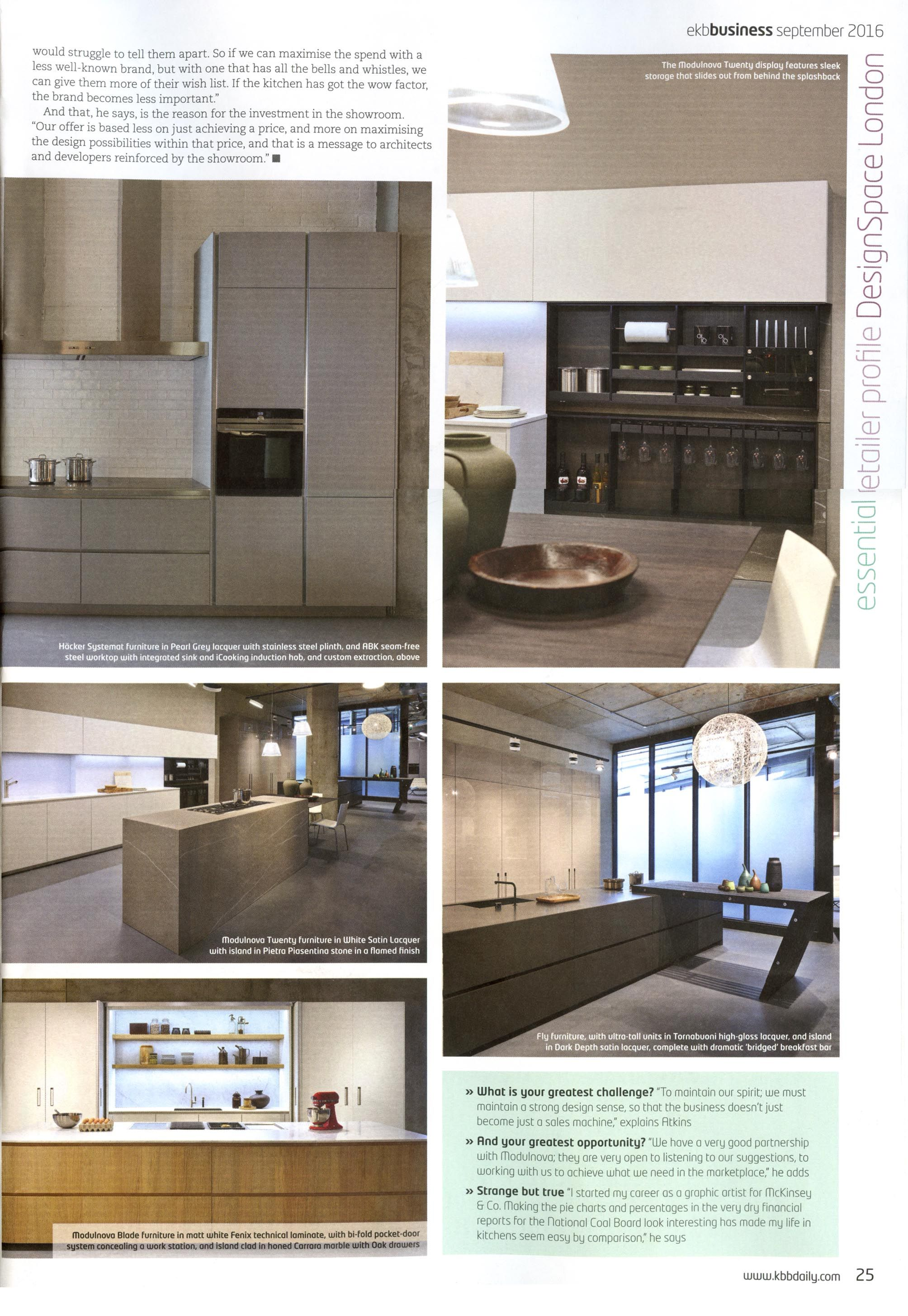 A fantastic article about DesignSpace London in Essential Kitchen   Bathroom  Business September 2016 issue A fantastic article about DesignSpace London in Essential Kitchen  . Essential Kitchen And Bathroom Business Magazine. Home Design Ideas