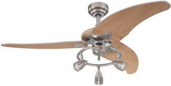 Westinghouse 7850500 Elite Three-Light 48-Inch Three-Blade Indoor Ceiling Fan, Brushed Nickel with Three Brushed Nickel Spotlights