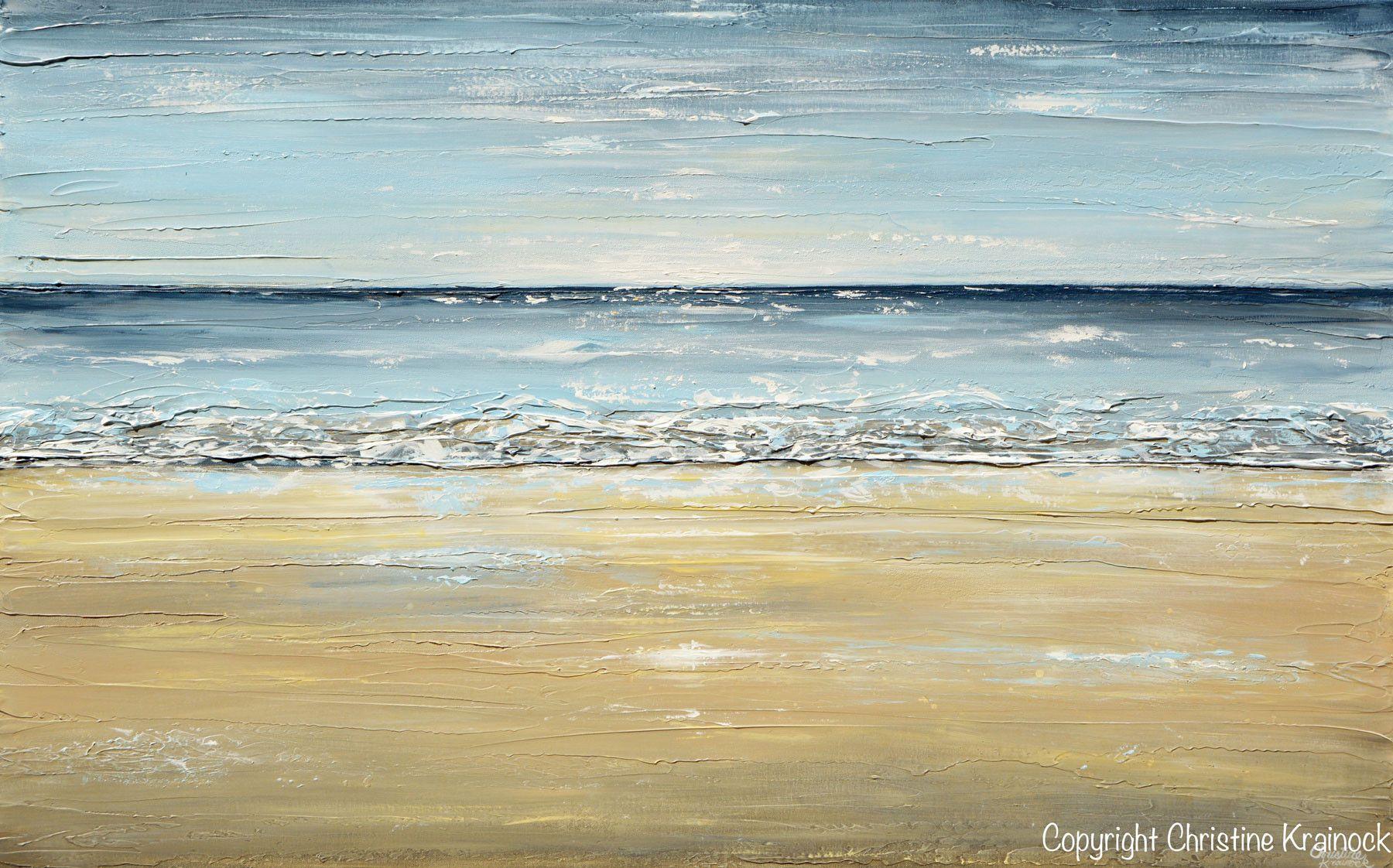 GICLEE PRINT Art Abstract Seascape Painting Beach Ocean Blue Beige ...
