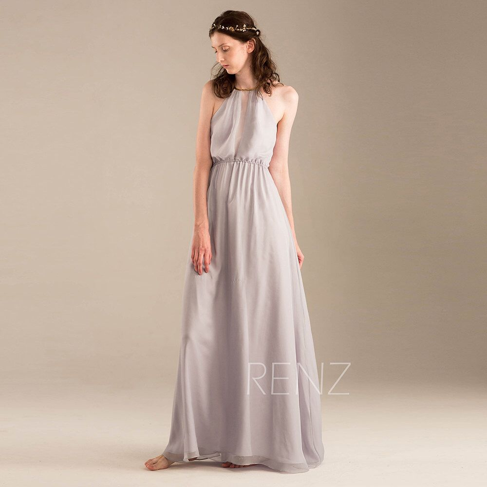 2015 Light Grey Halter Bridesmaid Dress Gray Wedding By RenzRags