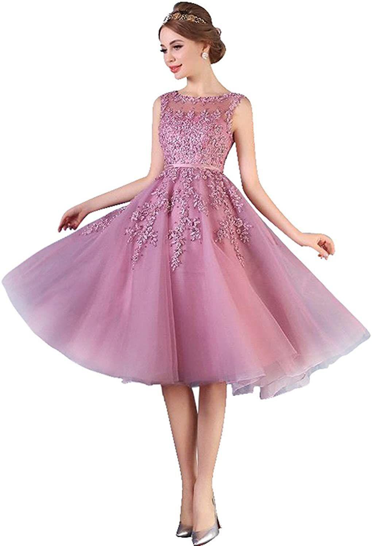 MisShow Damen Elegant Abendkleid Applique Spitze