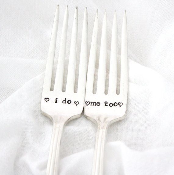 """Silverware Wedding Gifts: Wedding Forks, """"I Do, Me Too"""" Hand Stamped Silverware For"""