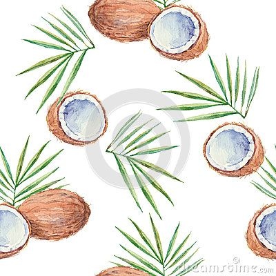 Seamless Pattern With Coconuts Painted In Watercolor Vector B
