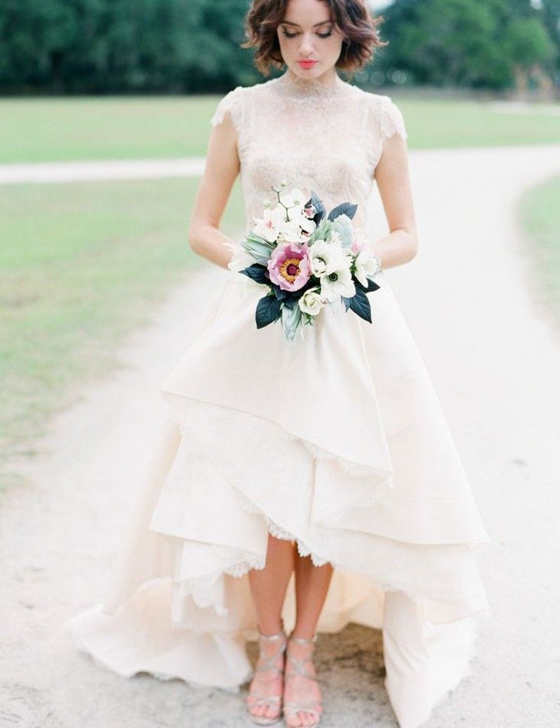 A Line High Low Lace Bateau Cap Sleeves Tiered Short Wedding Dress