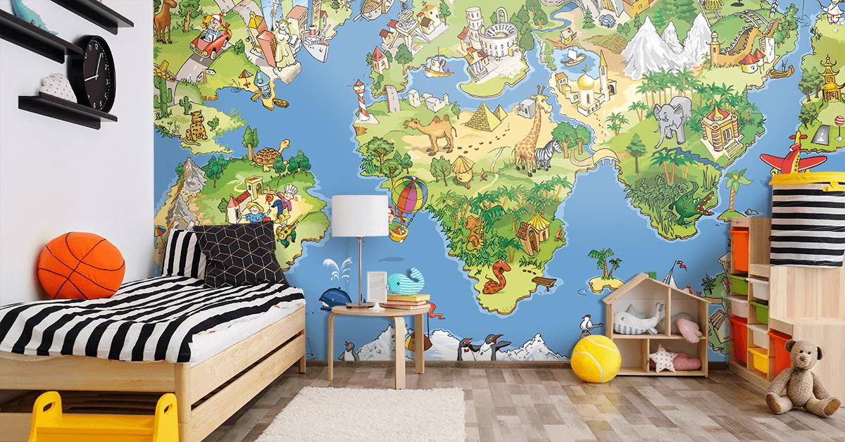 Fototapeta Zabawna Mapa Swiata Map Wall Mural Wall Murals Mural Wallpaper