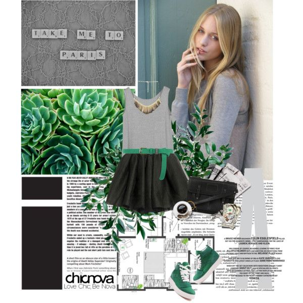 "Emerald with lt. gray & charcoal!        ack to school with Chicnova"" by purpleagony on Polyvore"