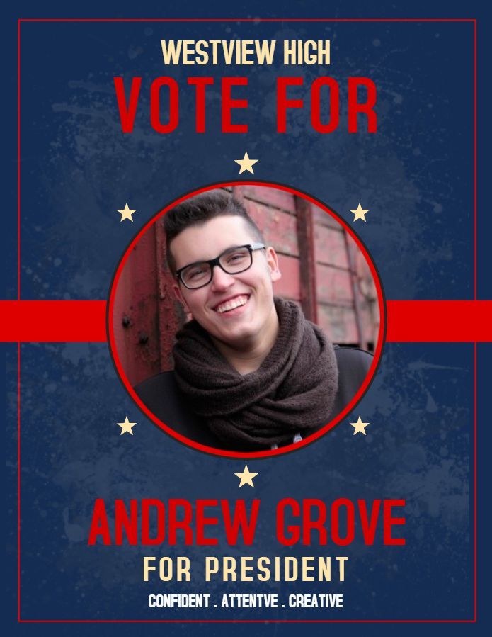 vintage school student council election poster template