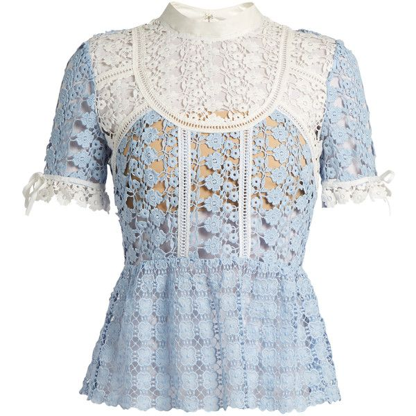 Self Portrait Floral Lace Peplum Top 290 Liked On Polyvore Featuring Tops Light Blue Blue Peplum Top Blue Lace Top Peplum Lace Top Light Blue Lace Top
