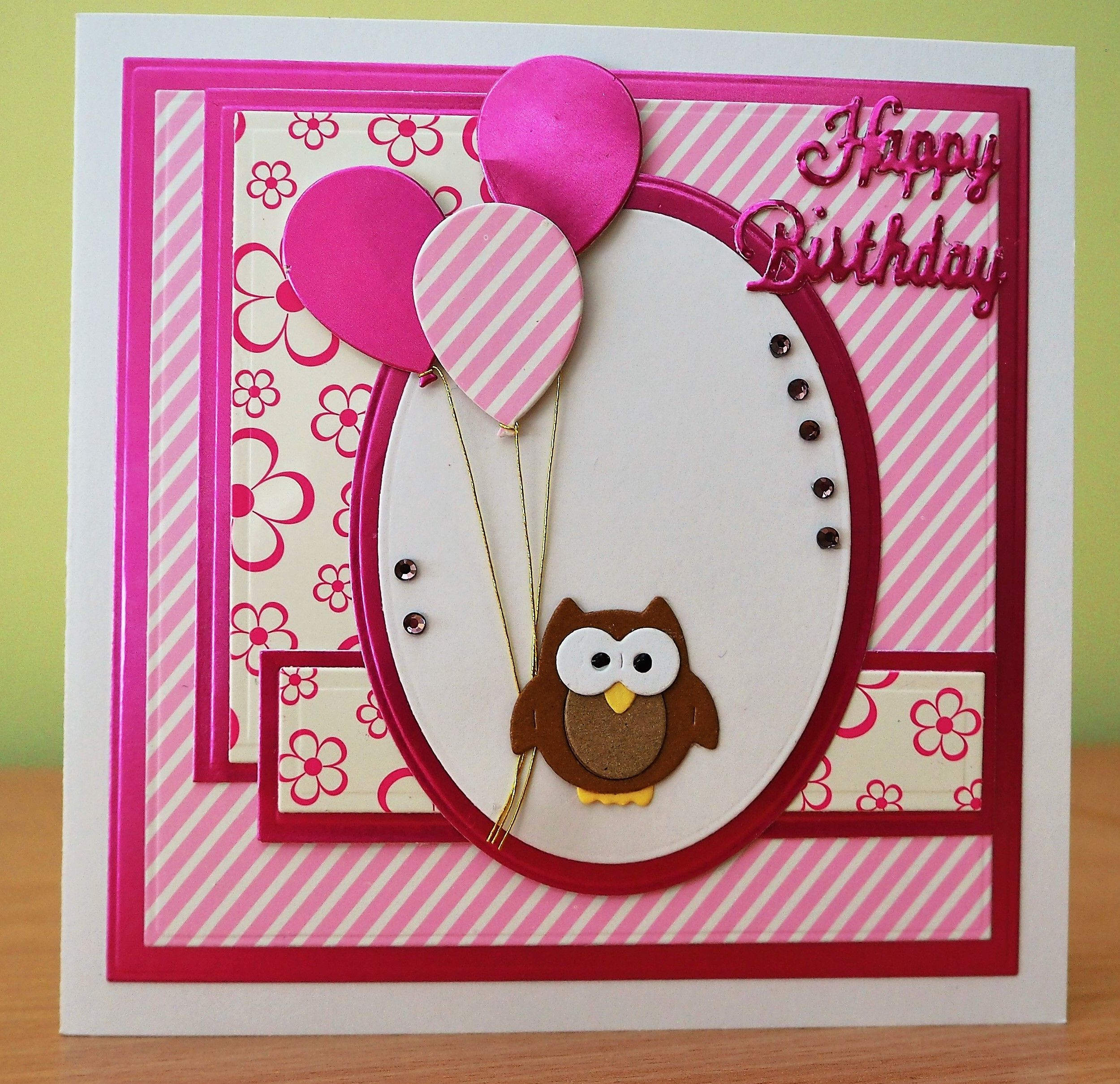 Handmade Birthday Card Cottage Cutz Owl Die With Balloons For