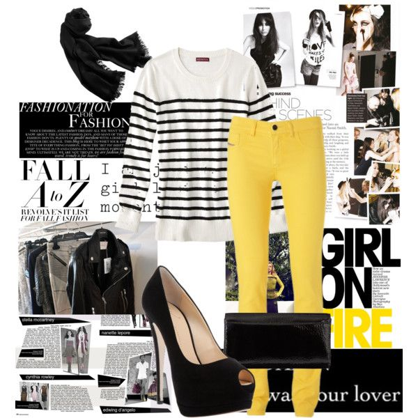"""""""black and yellow"""" by chirimica on Polyvore"""