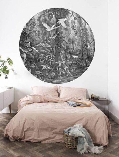 KEK Amsterdam rond fotobehang Tropical landscape zwart wit in slaapkamer #tropischelandschaftsgestaltung