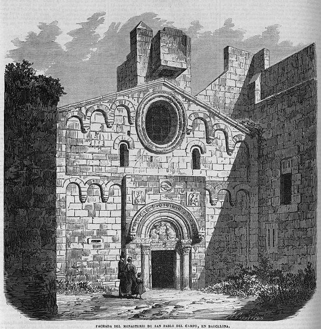 Fachada del monasterio de San Pablo del Campo, en Barcelona, de Ruiz - Monasterio de San Pablo del Campo - Wikipedia, la enciclopedia libre