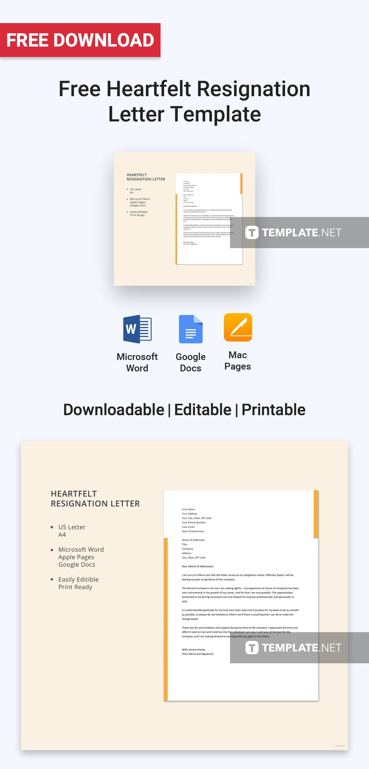 Free Heartfelt Resignation Letter Free Letter Templates - Google docs for personal use