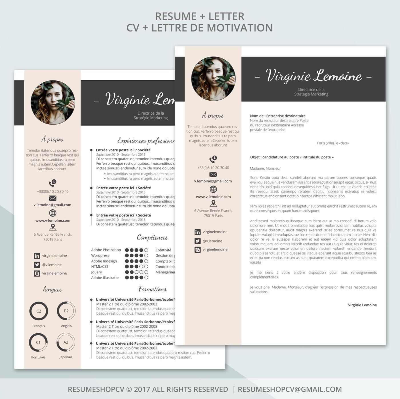4 Cv Professional Resume Modern And Graphic 4 Letters Pack Of Extra Pictograms For Microsoft Word Brun Tanne 5 0 Cv Curriculum Vitae Modele Lettre De Motivation Microsoft Word