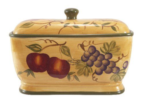 Amazon Com Tuscan Mixed Fruit Collection Deluxe Hand Painted Toast Bread Box Jar 88475 By Ack Ceramic And Ceramic Bread Box Bread Boxes Vintage Bread Boxes