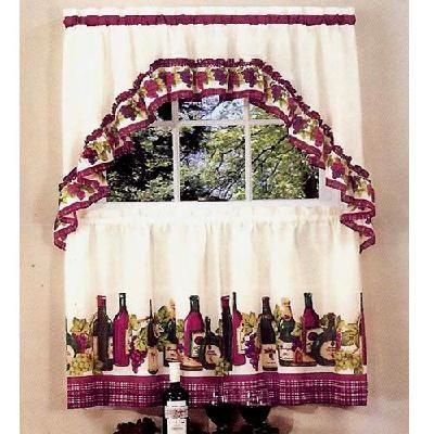 Chardonnay 36 Long Tier Swag Curtain Set Burgundy Wine Bottles Motif Wine Theme Kitchen Kitchen Curtain Sets Wine Decor