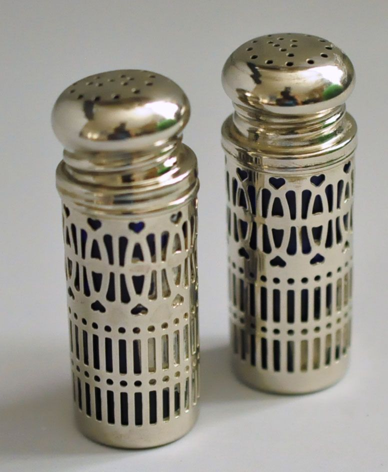 Cobalt Blue Glass & Silverplate Salt Pepper Shaker Set UK