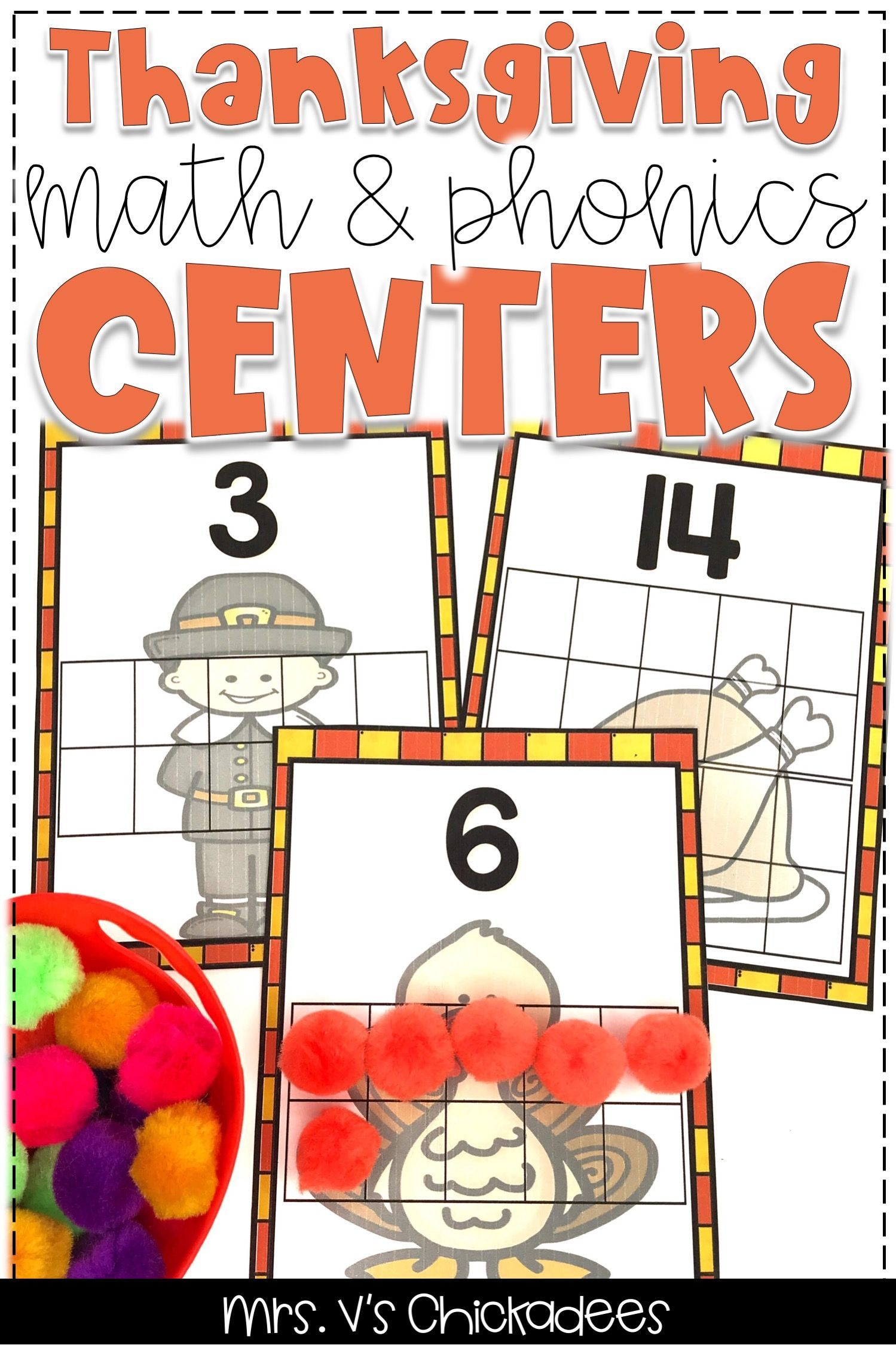 Thanksgiving Math Amp Phonics Centers Bundle With Images