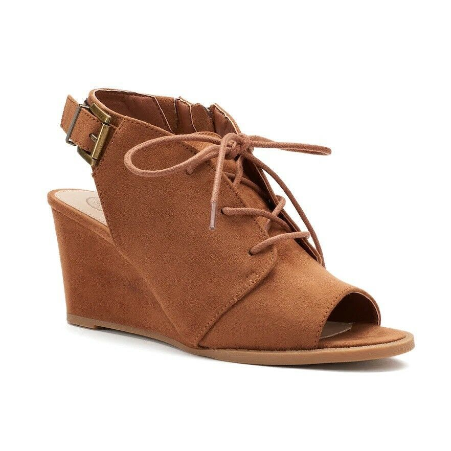 0e64c6cdd9d SO Podcast Womens Wedge Ankle Sandals Cognac size 9 NEW #SO #Casual ...