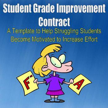 Student Grade Improvement Contract TpT FREE LESSONS Pinterest