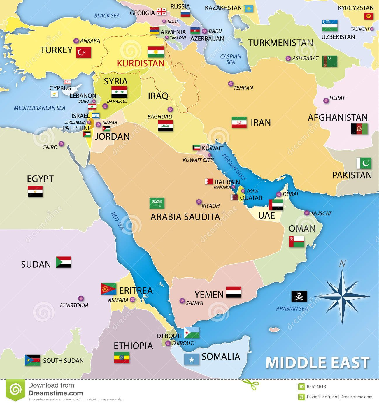 Middle East Map Graphic Elaboration Stock Illustration Image