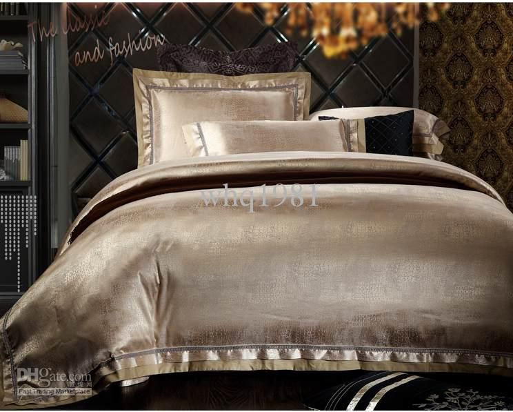 Wholesale Comforter Set Buy Luxury Jacquard Silk Cotton Bedding Set Queen King Size 4 Satin Duvet Comforte Silver Bedding Queen Bedding Sets Linen Bed Sheets