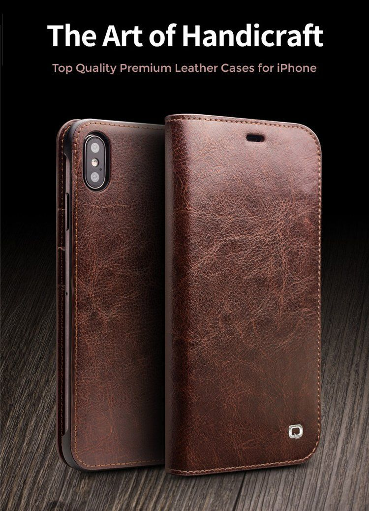 Luxury ultra slim handmade leather flip phone case for
