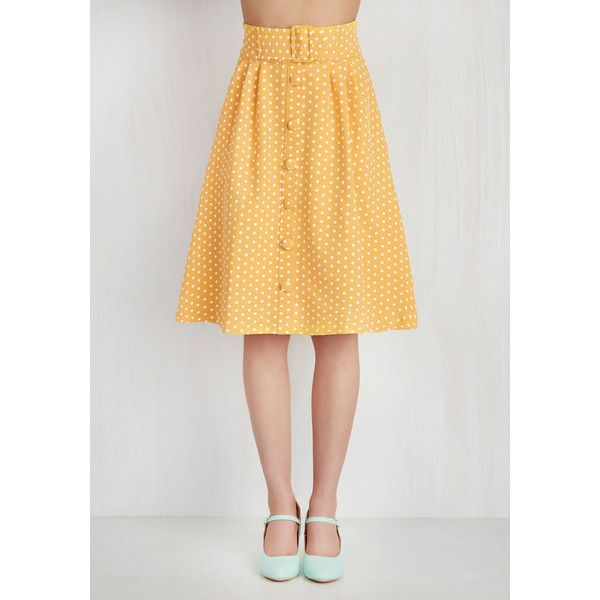 Intern of Fate Skirt in Citrus Dots (€55) ❤ liked on Polyvore featuring skirts, white skirt, midi skirt, pocket skirt, knee length pleated skirt and yellow polka dot skirt